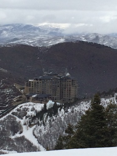 Looking at our hotel from one of the slopes