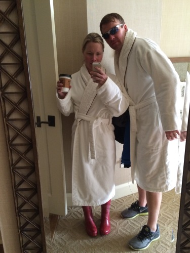 This pic just cracks me up...heading to the hot tub in our robes (and me in my rain boots), praying we don't run in to anyone we know.